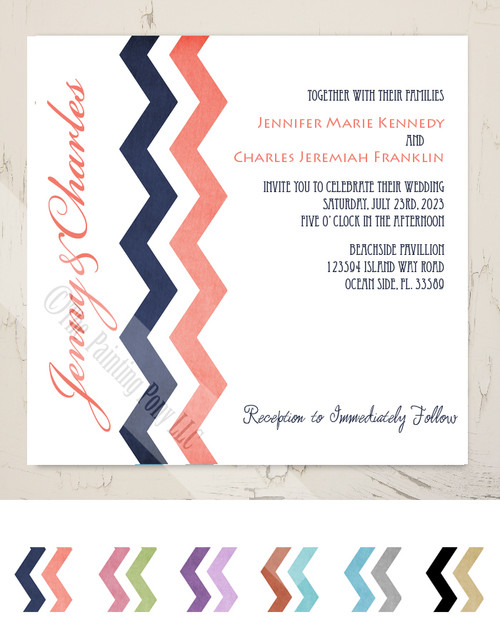Navy Blue and Coral Pink Chevron Wedding Invitation