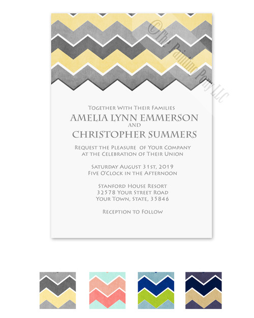 Yellow and grey chevron pattern wedding invitation