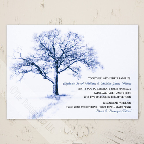 Blue winter tree Christmas wedding invitation