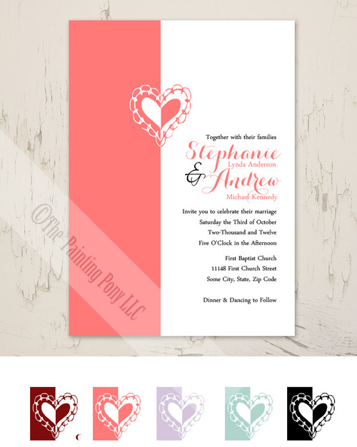 Whimsical Heart Wedding Invitation (10 pk)