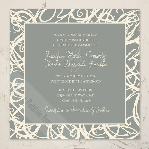 Cream and grey sketch frame artistic wedding invitation