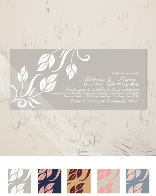 Grey and white elegant fall leaves wedding invitation