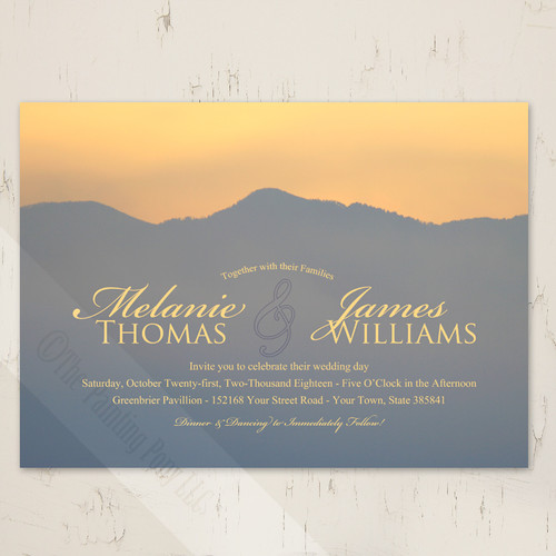 Smokey mountains sunrise country wedding invitations