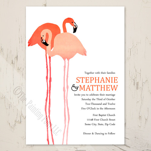 Pink and black beach flamingos wedding invitation