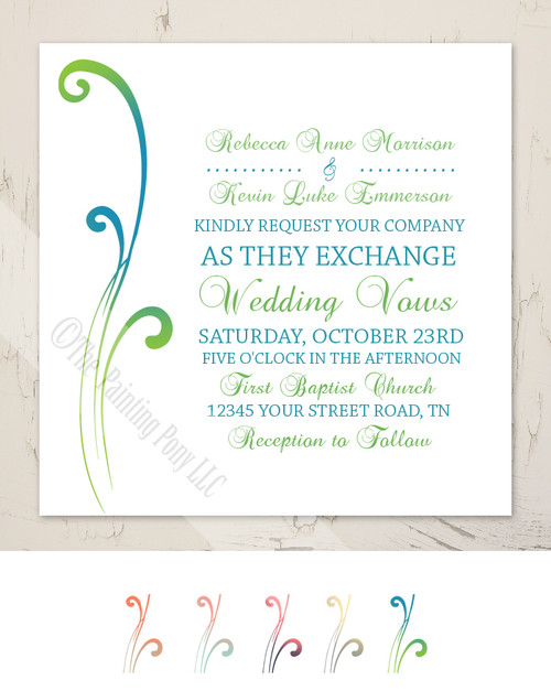 Color Blended Swirls Wedding Invitation (25pk)