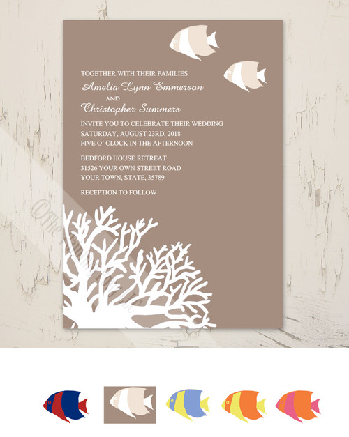 Tropical Coral Beach Wedding Invitation (10 pk)