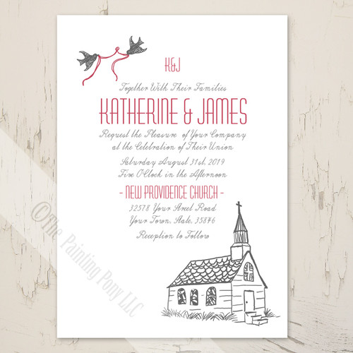 whimsical wedding chapel religious invitation
