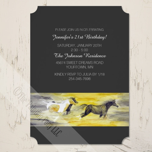 Stylish Equestrian Themed Galloping Horses Birthday Party Invitation