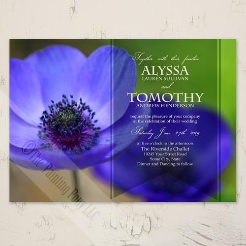 Blue Poppies Floral Garden Wedding Invitation