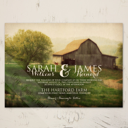 Country Horse Barn Farm Wedding Invitation