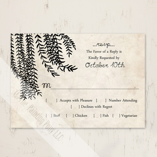 Vintage willow tree wedding invitation response card