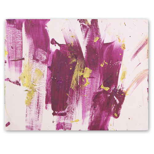 Purple and Gold Abstract Art on Stretched Canvas.