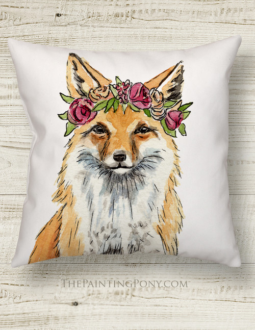 Bohemian Fox Throw Pillow