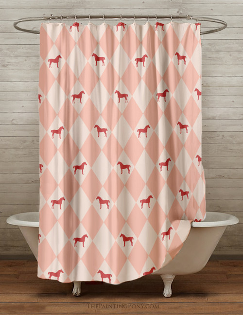 Harlequin Horse Shower Curtain