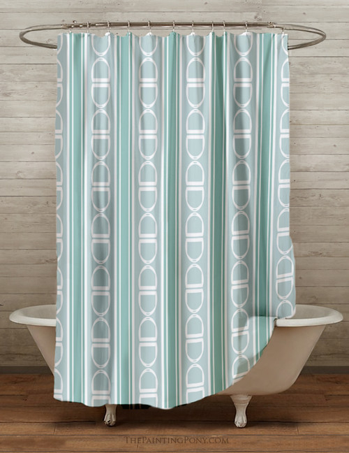 Stirrup Pattern Equestrian Shower Curtain