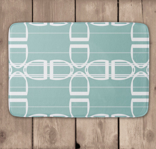 Teal Stirrup Pattern Equestrian Bath Mat