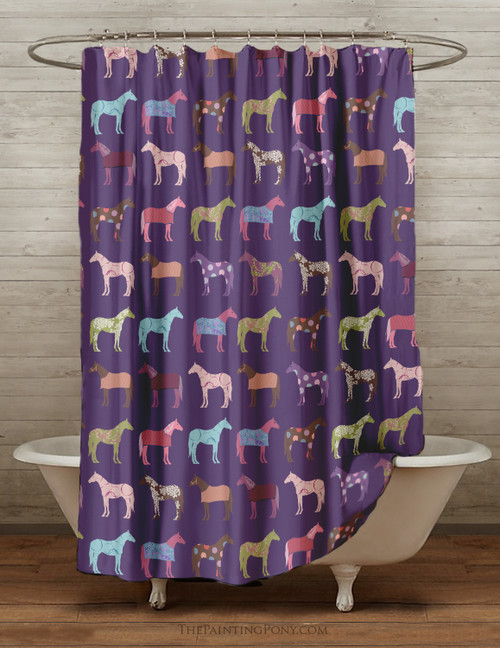 Fun Horse Pattern Shower Curtain