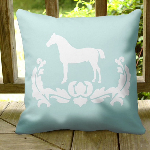 Teal blue equestrian horse damask throw pillow