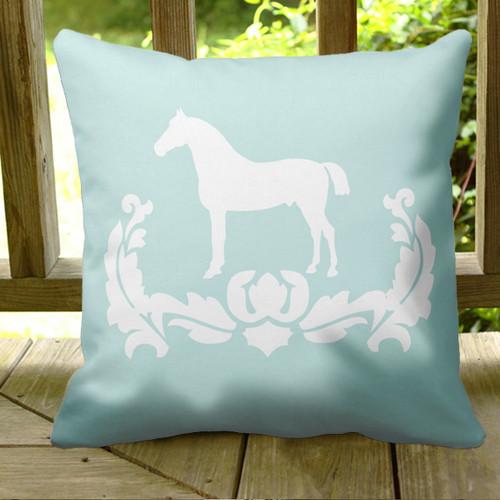 Teal blue equestrian horse damask throw pillow