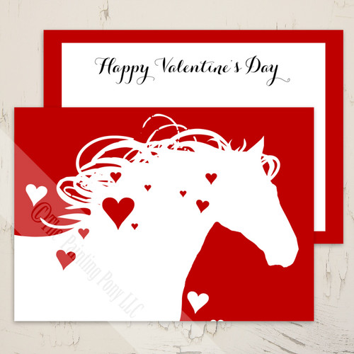 Heart Horse Equestrian Valentine's Day Greeting Card