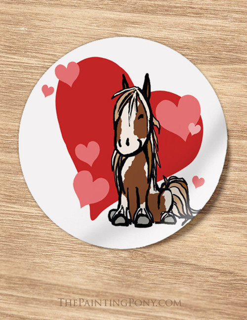 Cartoon Pony Valentine Stickers