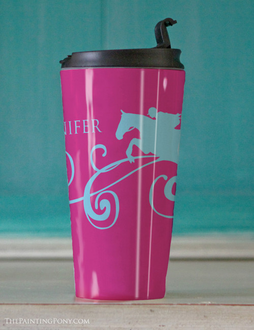 Personalized Hunter Horse Travel Tumbler 15oz