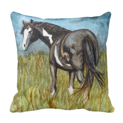 Black and white paint horse watercolor art living room throw pillow for the equestrian home decor.