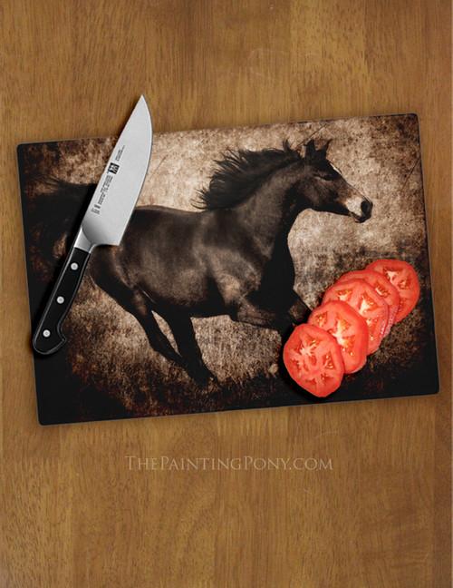 Rustic Galloping Horse Glass Cutting Board