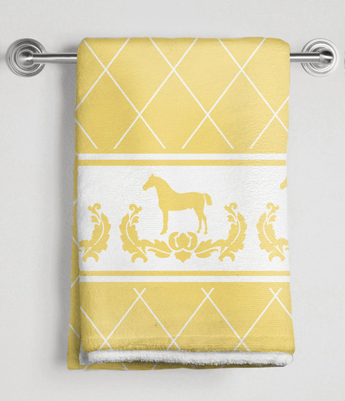 Yellow and white Damask Horse with Harlequin pattern equestrian bath towel.