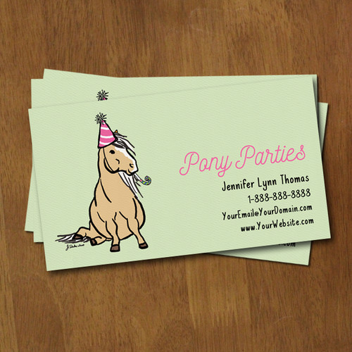 Equestrian stationery equestrian business calling cards the birthday party pony whimsical business card reheart Choice Image