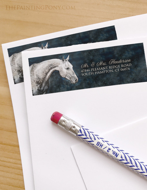 Dappled Grey Horse Head Return Address Labels