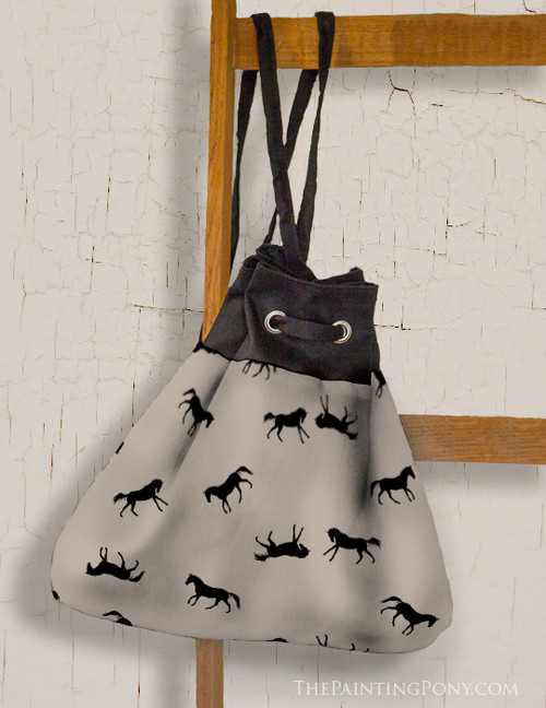 Black and Tan Galloping Horses Pattern Sling Bag