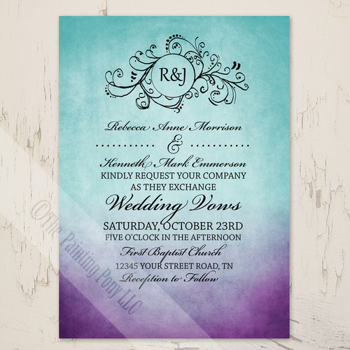 Purple and Teal Artsy Bohemian Wedding invitations
