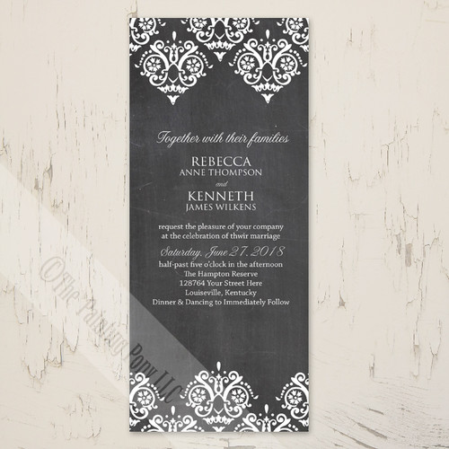 Elegant Chalkboard Damask Patterned Wedding Invitation