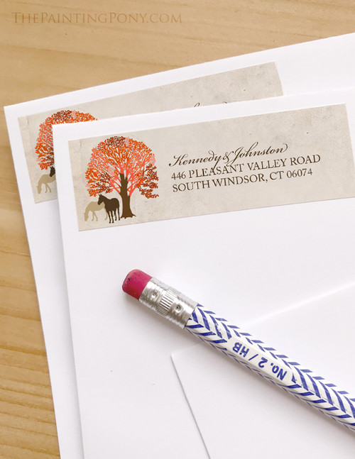 Autumn Horses Wedding Return Address Labels