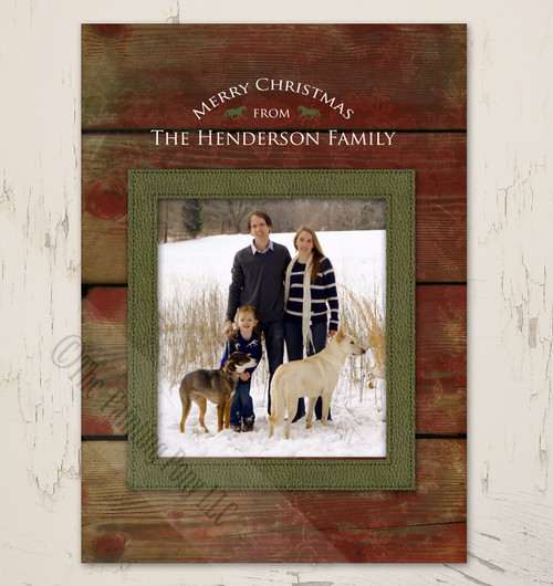 Rustic Horse lover Photo Template Flat Christmas Card