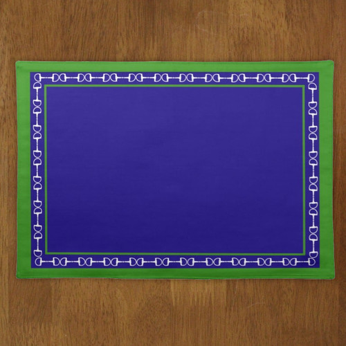 blue and green colored equestrian horse bits placemat