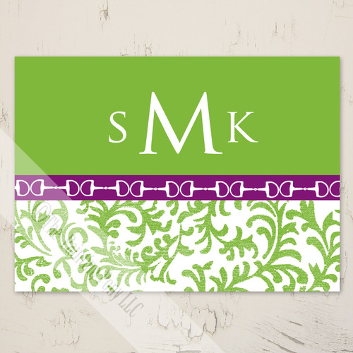 Monogram Horse bits equestrian note cards
