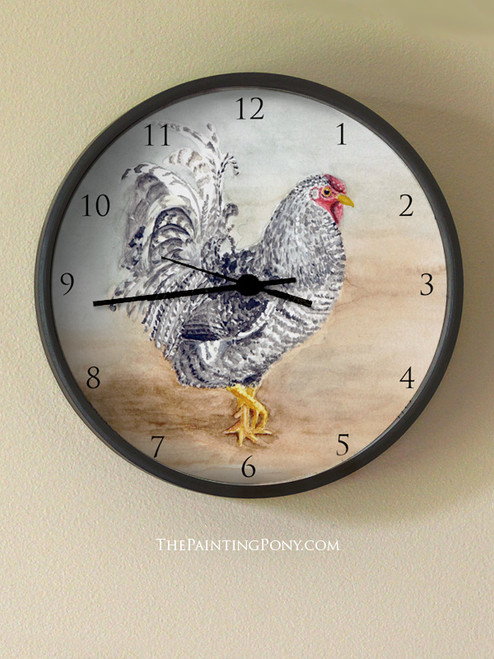 Dominique Rooster Wall Clock