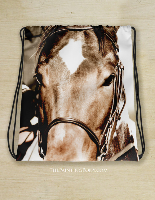 Horse Eyes Equestrian Drawstring Gym Tote Bag