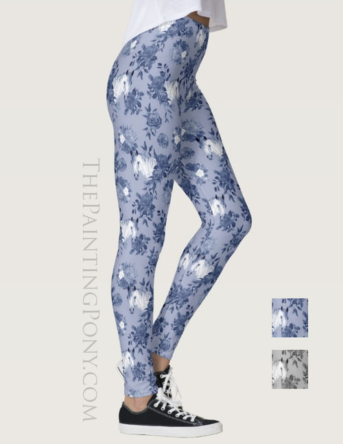 Horse Head Floral Pattern Equestrian Leggings