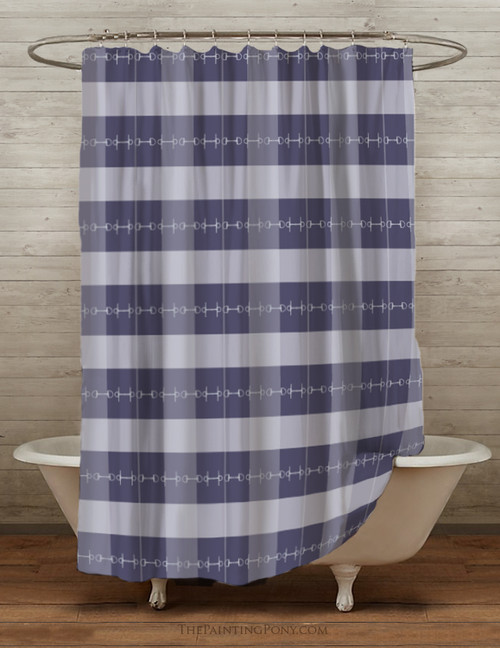 Blue Plaid Horse Bits Equestrian Themed Shower Curtain