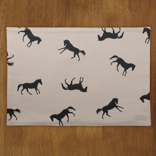 Black and Tan Galloping Horse Pattern Placemat