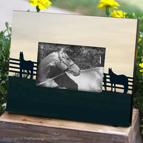 Horses at the Fence Equestrian Picture Frame