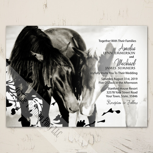 Pony Love Equestrian Horse Themed Wedding Invite Stationery