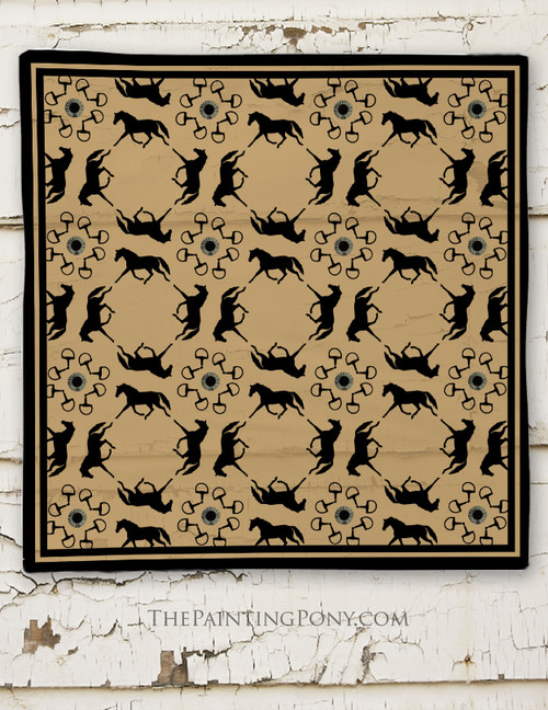 Equestrian Patterned Square Scarf
