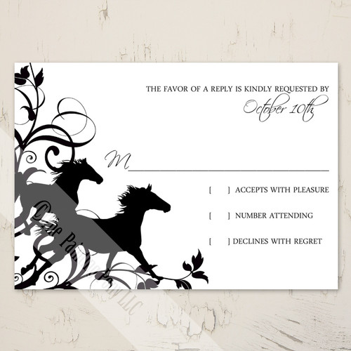 Wild Horses Equestrian Wedding RSVP card
