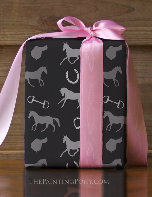 English Horse Pattern Equestrian Gift Wrapping Paper