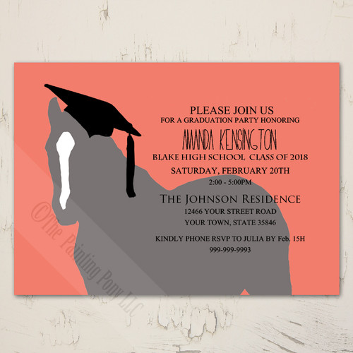 Equestrian photo graduation party invite 10 pk the painting pony back of party invite filmwisefo