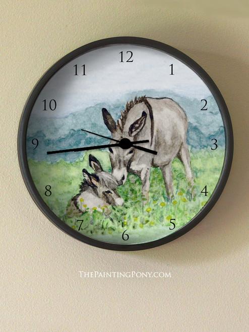 Miniature Donkey Mom Wall Clock